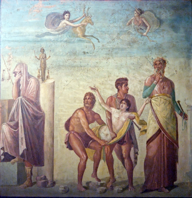 el-sacrificio-de-ifigenia-fresco-pompeya-siglo-i-ac-casa-del-poeta-trc3a1gico-agamenc3b3n-embozado-se-aleja-de-la-escena-del-sacrificio-de-ifigenia