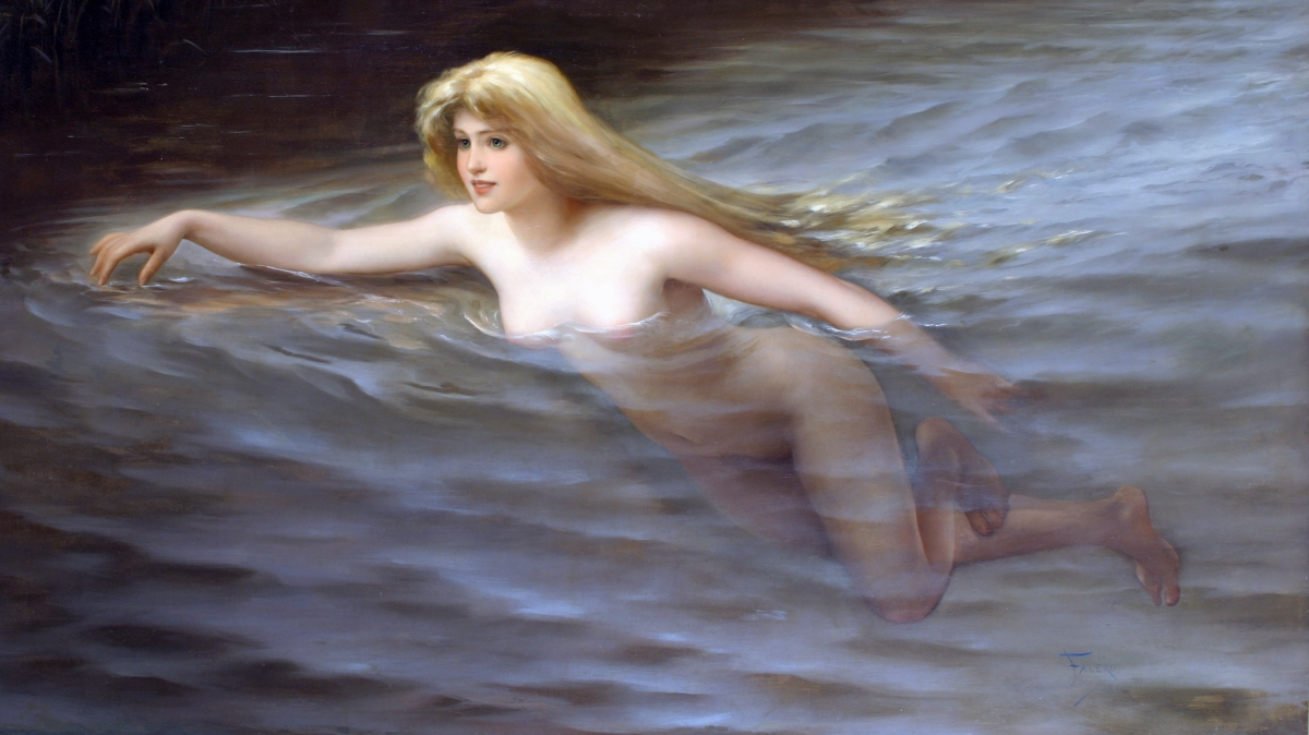 A sea nymph  *oil on canvas  *114 x 195.5cm  *signed b.r.: Falero / 1892