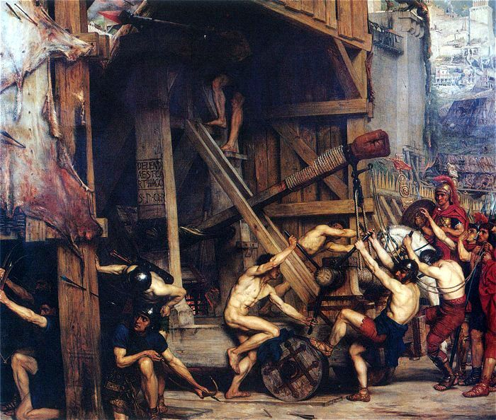 12-The Catapault (La catapulta), óleo sobre lienzo, 183 x 155 cm., 1868. Laing Art Gallery (Newcastle upon Tyne, United Kingdom) - 146 BC in front of Cartag