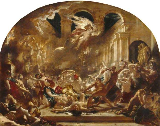 Etty, William; The Destroying Angel and Daemons of Evil Interrupting the Orgies of the Vicious and Intemperate; Manchester Art Gallery; http://www.artuk.org/artworks/the-destroying-angel-and-daemons-of-evil-interrupting-the-orgies-of-the-vicious-and-intemperate-204938