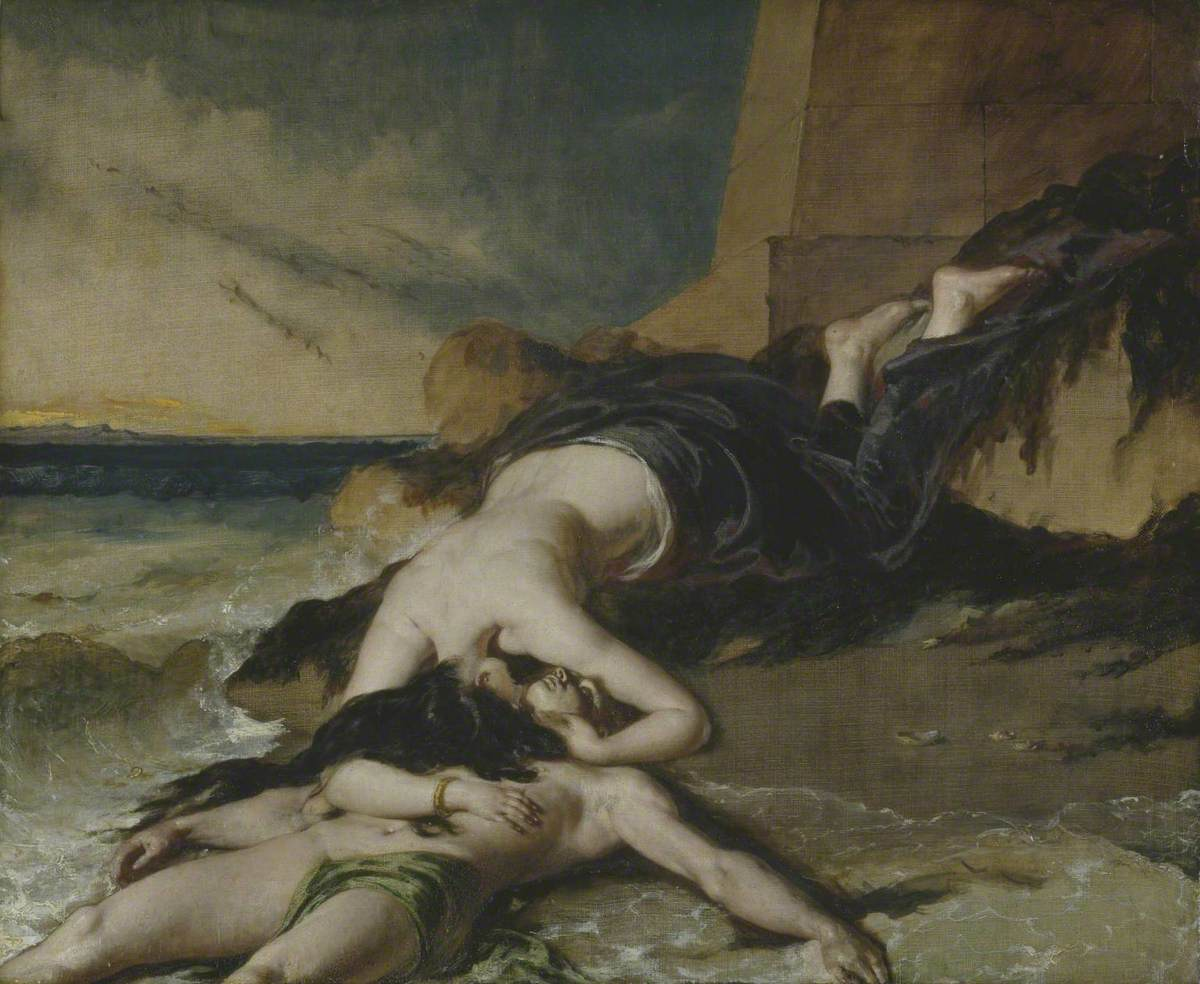 Etty, William; Hero, Having Thrown herself from the Tower at the Sight of Leander Drowned, Dies on his Body; Tate; http://www.artuk.org/artworks/hero-having-thrown-herself-from-the-tower-at-the-sight-of-leander-drowned-dies-on-his-body-198670