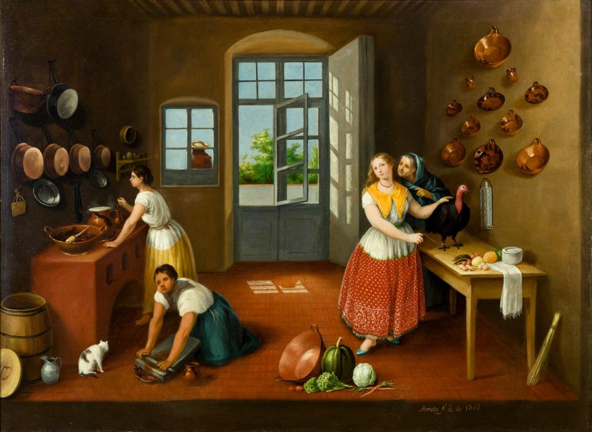 Cocina poblana por Agustín Arrieta, Pintura mexicana,  Costumbrista, Siglo XIX